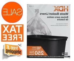 Waste Liner Clear Trash Bags 250 Count 10 Gallons Home Offic