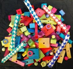 130 Pieces Small Parrot Toy Parts Bird Toys Wood Beads Finge