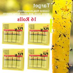 16 INSECT BUG FLY GLUE PAPER CATCHER TRAP RIBBON TAPE STRIP