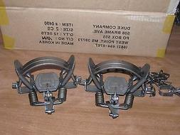 2 DUKE #2 COIL SPRING TRAPS RACCOON COYOTE BOBCAT FOX LYNX O