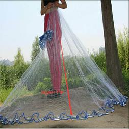 2.4M 8FT Fishing Cast Net Bait Easy Throw Hand Cast Strong N