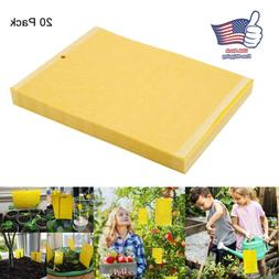 20 Sticky Fly Trap Paper Yellow Traps Fruit Flies Insect Glu