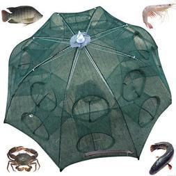 4~16 Holes Automatic Fishing Net Shrimp Cage Nylon Foldable