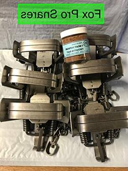 6 Duke #2 Square Jaw 4 coil spring traps with 1 FREE jar of