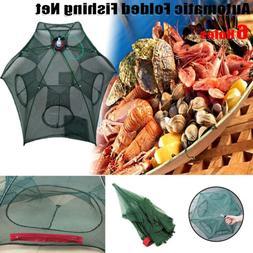 6 Holes Foldable Fishing Shrimp Fish Crab Yabbie Net Trap Fi