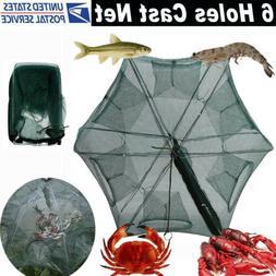 Magic Fishing Bait Trap Crab Net 6 Hole Full Automatic Folding Shrimp Cage Fish