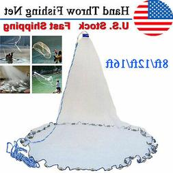 8ft/12ft/16ft Saltwater Fishing Cast Net For Bait Trap Heigh