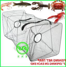 Fishing Bait Trap Fish Net Cast Dip Cage Crab Minnow Crawdad