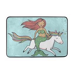 ALAZA Cartoon Drawing of Mermaid Riding Unicorn Entrance Doo