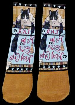 Cat Art Socks,TNR,Trap Neuter Release,Help Our Feral Cats,Fe