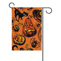 ALAZA Double Sided Halloween Spooky Pumpkin Black Cat Hat an