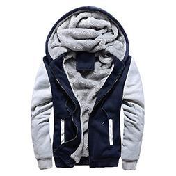 Toimothcn Mens Faux Fur Lined Coat Winter Warm Fleece Hood Z