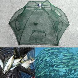 Fishing Bait Foldable Crab Net Trap Cast Dip Cage Fish Crawf