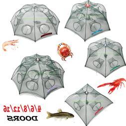 Fishing Bait Trap Crab Net Crawdad Shrimp Cast Dip Cage Fish