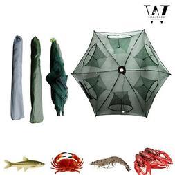 Fishing Trap Crab Net Crawdad Shrimp Cast Foldable 6 Holes N