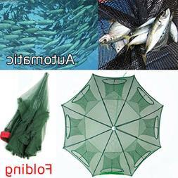 Foldable Fishing Bait Crab Net Trap Cast Dip Cage Fish Crawf