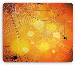 Halloween Mouse Pad, Spiders Arachnid Insects Cobweb Thread