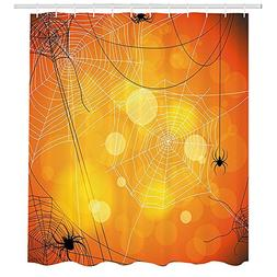 Halloween Shower Curtain,Spiders Arachnid Insects Cobweb Thr