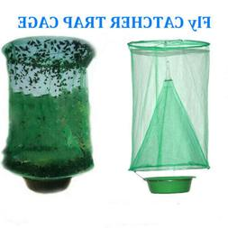 Hanging Fly Trap Cage Reusable Folding Ranch Trap Catcher Fl