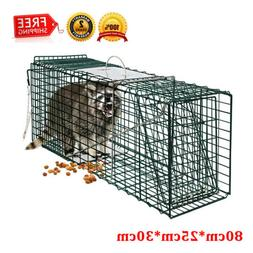 Humane Animal Trap 80x25x30 Steel Wire Cage 2-Door Rodent Ra
