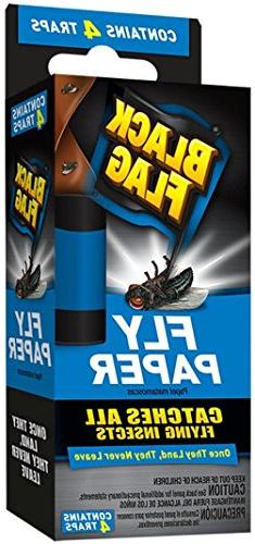 4 Pk, Black Flag Fly Paper Insect Trap