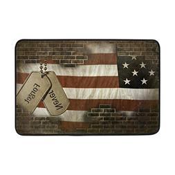 ALAZA Military Dog Tags on American Flag behind Brick Door M