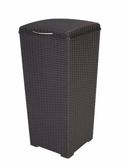 Pacific 30 Gal. Outdoor Resin Wicker Waste Basket Trash Can