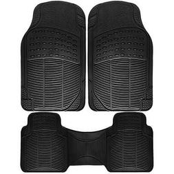 OxGord 3pc Ridge Heavy Duty Rubber Floor Mats, Black
