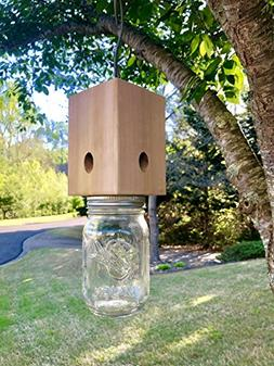 Wood Something Solid Cedar Carpenter Bee Trap - Catcher -Sta