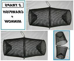 TWO PROMAR Crawfish/Minnow Bait Traps- Vinyl Coated Metal- T