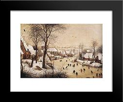 Winter Landscape with Skaters and a Bird Trap 20x24 Framed A